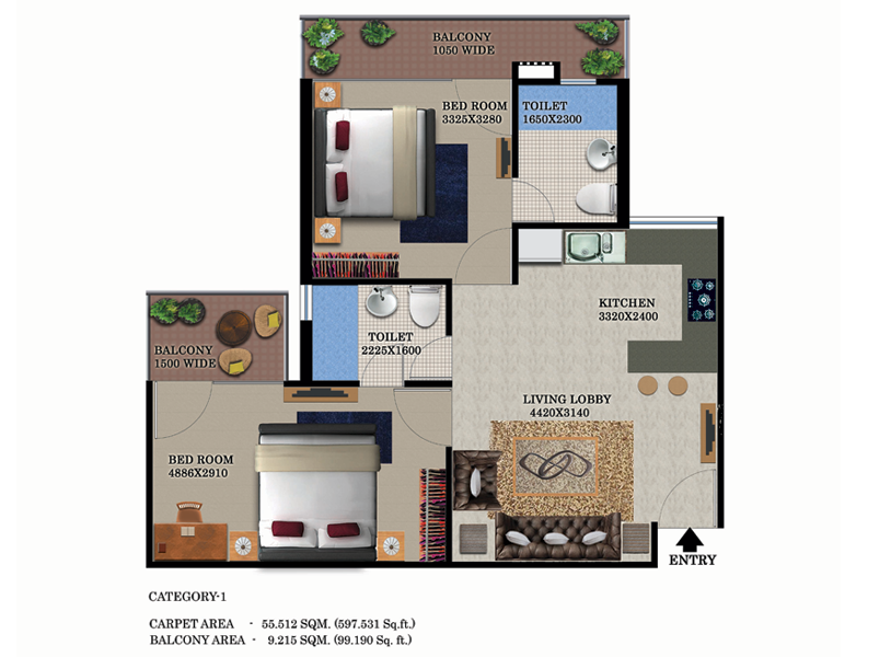 FLOOR PLAN TYPE 1, 2 BHK, SUPERAREA 950 Sq.ft.