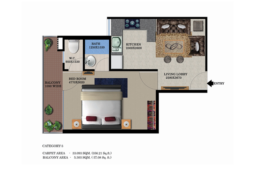 Global Height  Floor Plan 1310 Sqft. 3 BHK