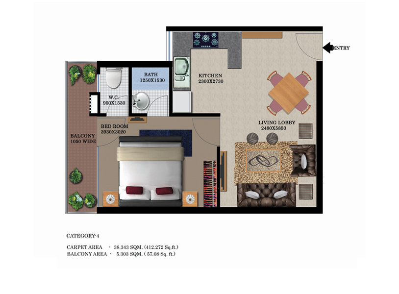 Global Height  Floor Plan 1335 Sqft. 3 BHK
